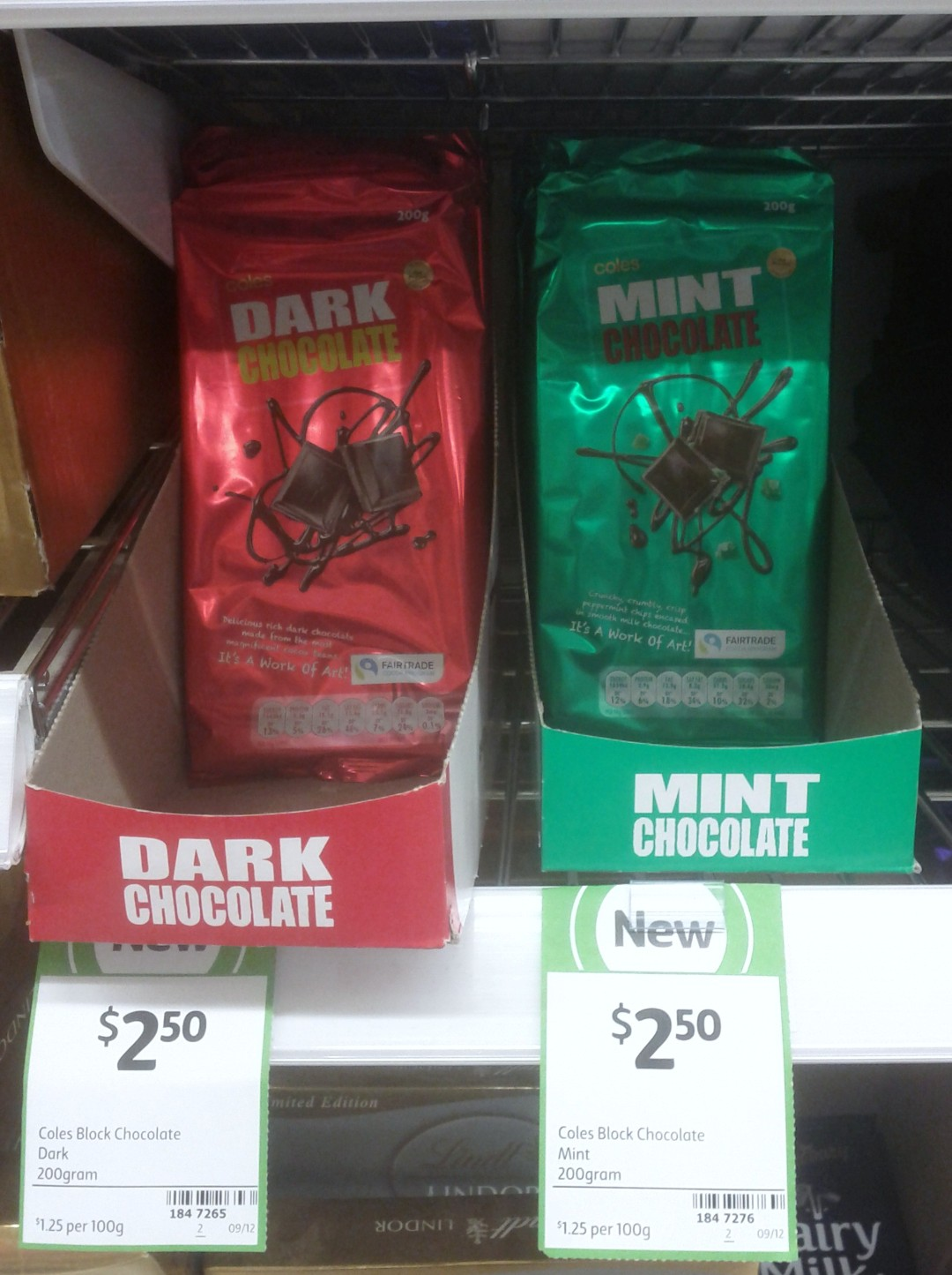 Coles 200g Chocolate Dark, Mint