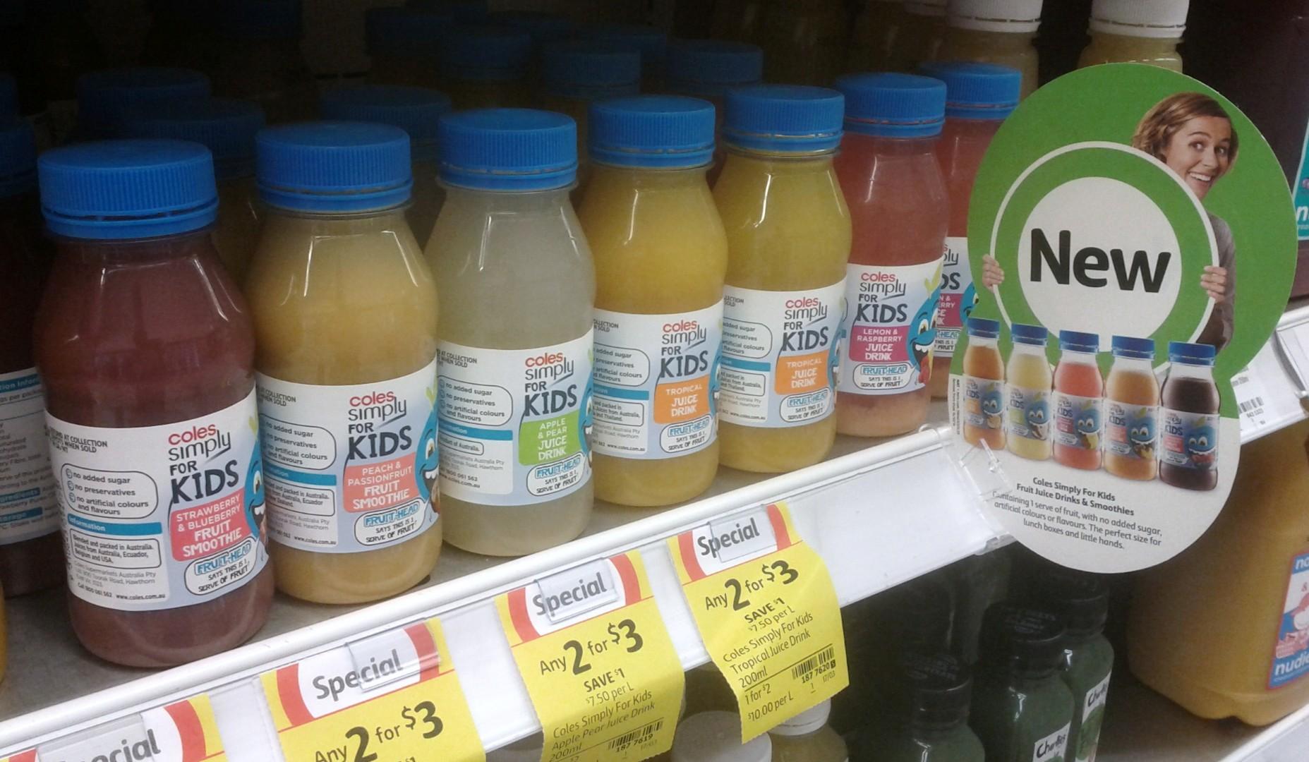 Coles 200mL Simply For Kids Fruit, Apple, Tropical, Lemon & Raspberry