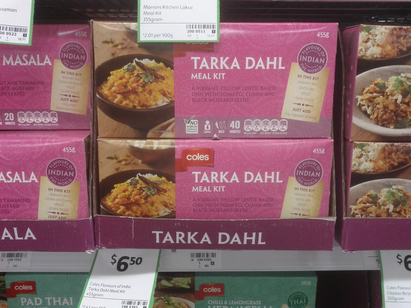 Coles 455g Tarka Dahl Meal Kit