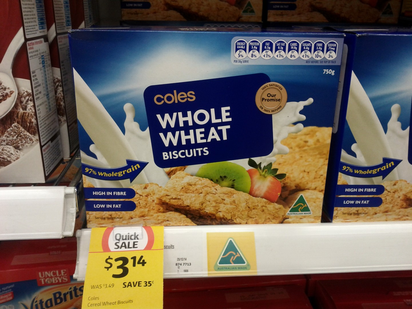 Coles 750g Whole Wheat Biscuits