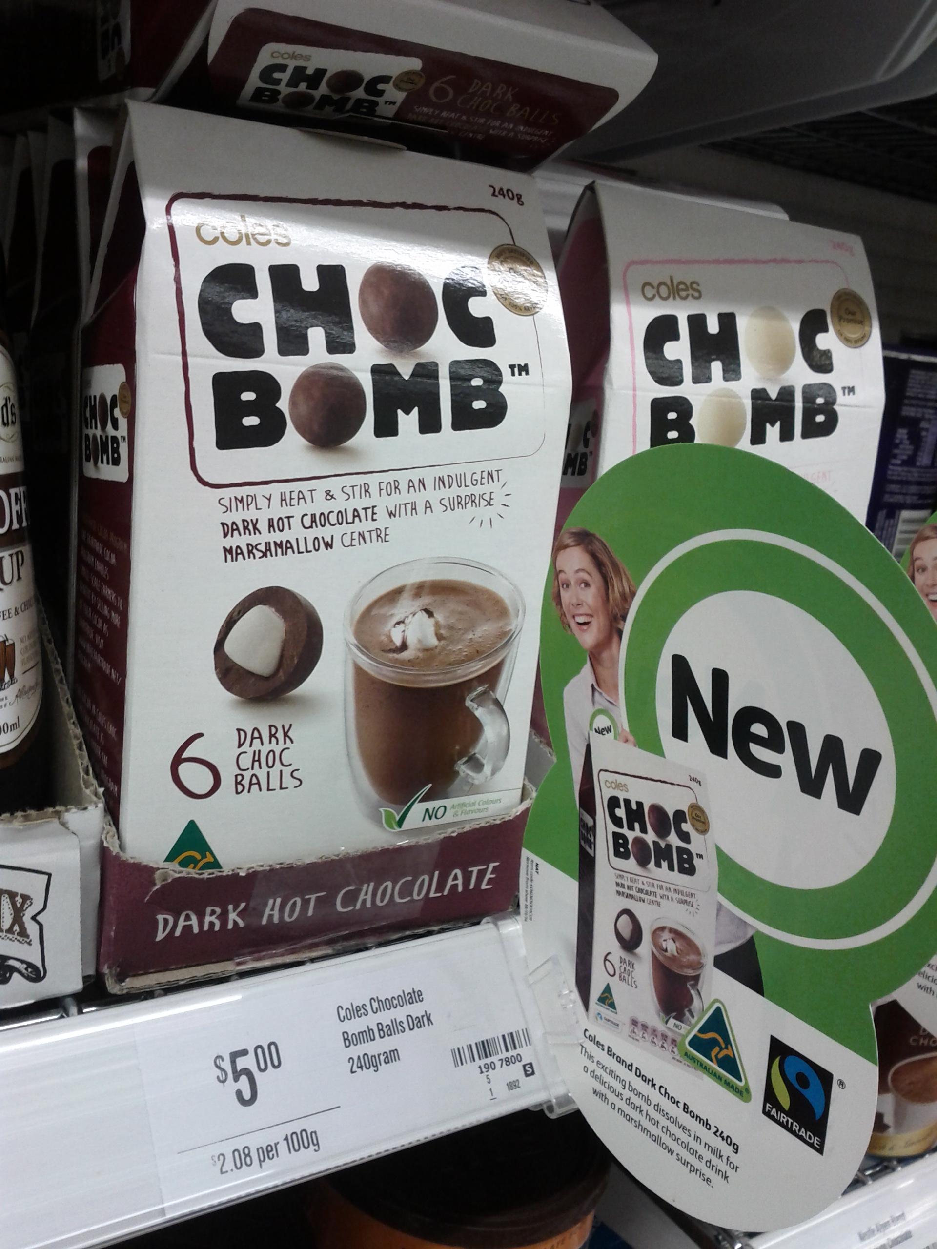 Coles 240g Choc Bomb Dark
