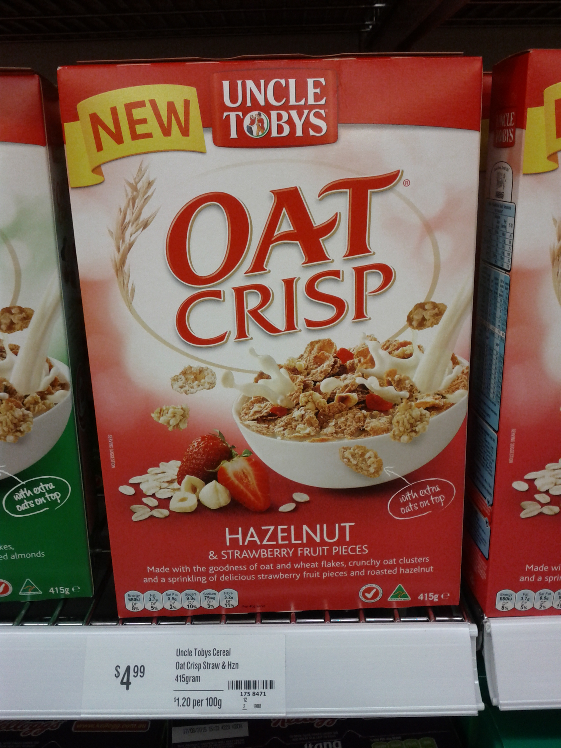 Uncle Tobys 415g Oat Crisp Hazelnut and Strawberry