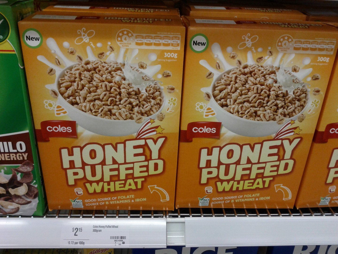 Coles 300g Honey Puffed Wheat