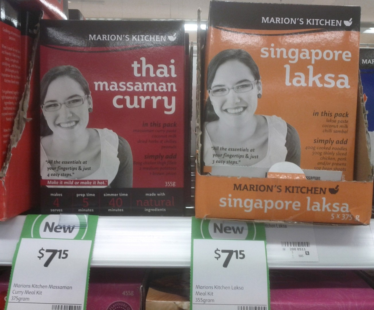 Marion's Kitchen 375g Thai Massamon Curry, 355g Laksa