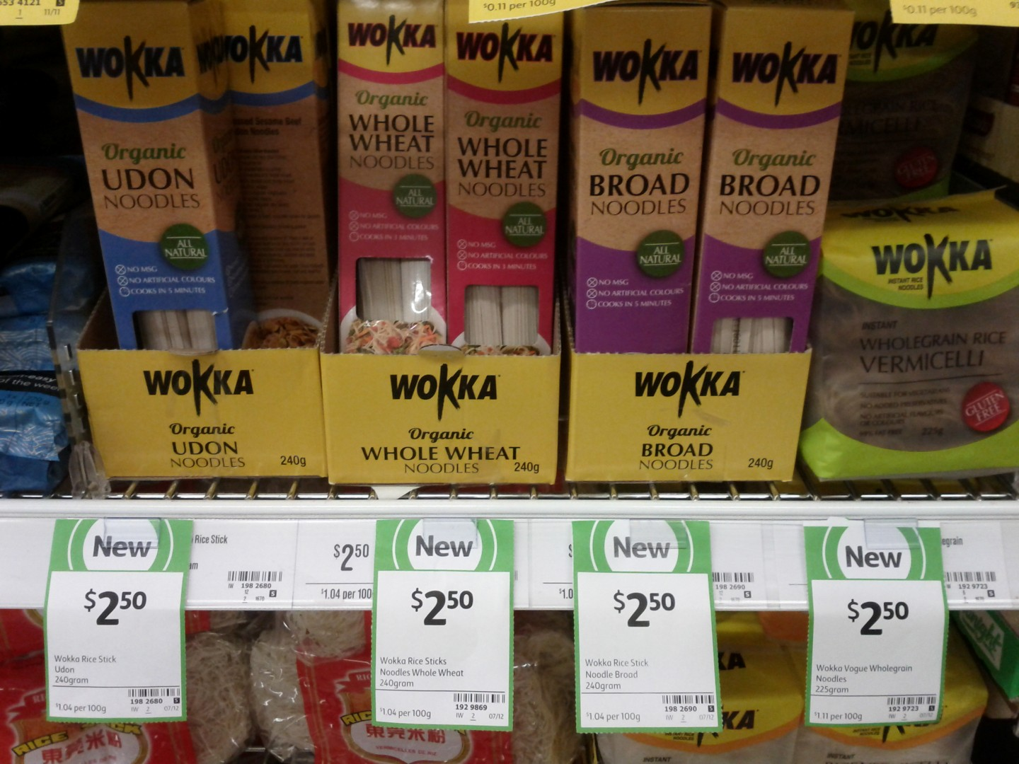 Wokka 240g Organic Udon Noodles, Whole Wheat Noodles, Broad Noodles