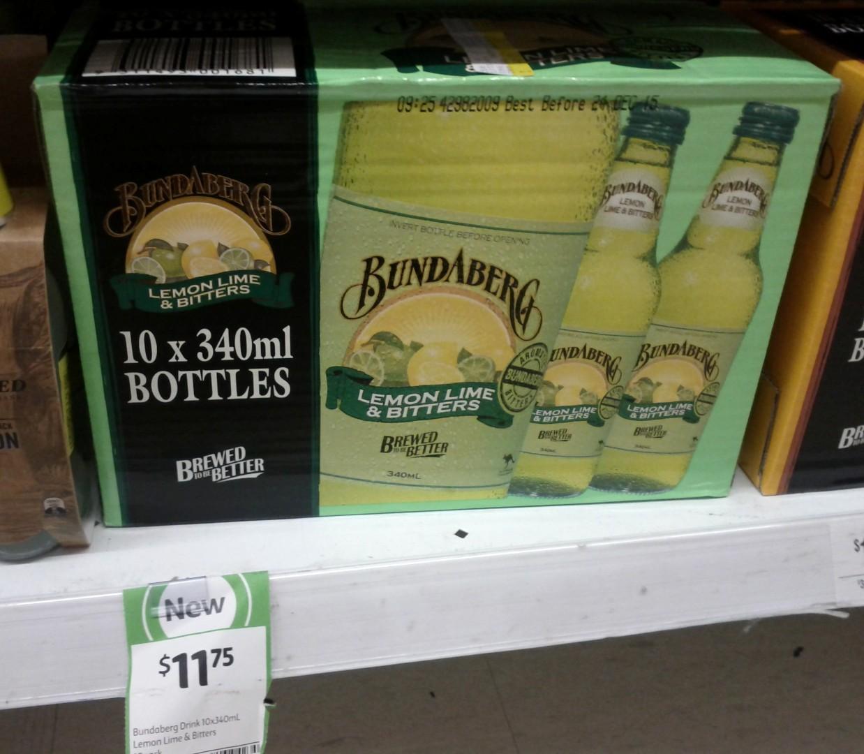 Bundaberg 10x340mL Lemon Lime & Bitters