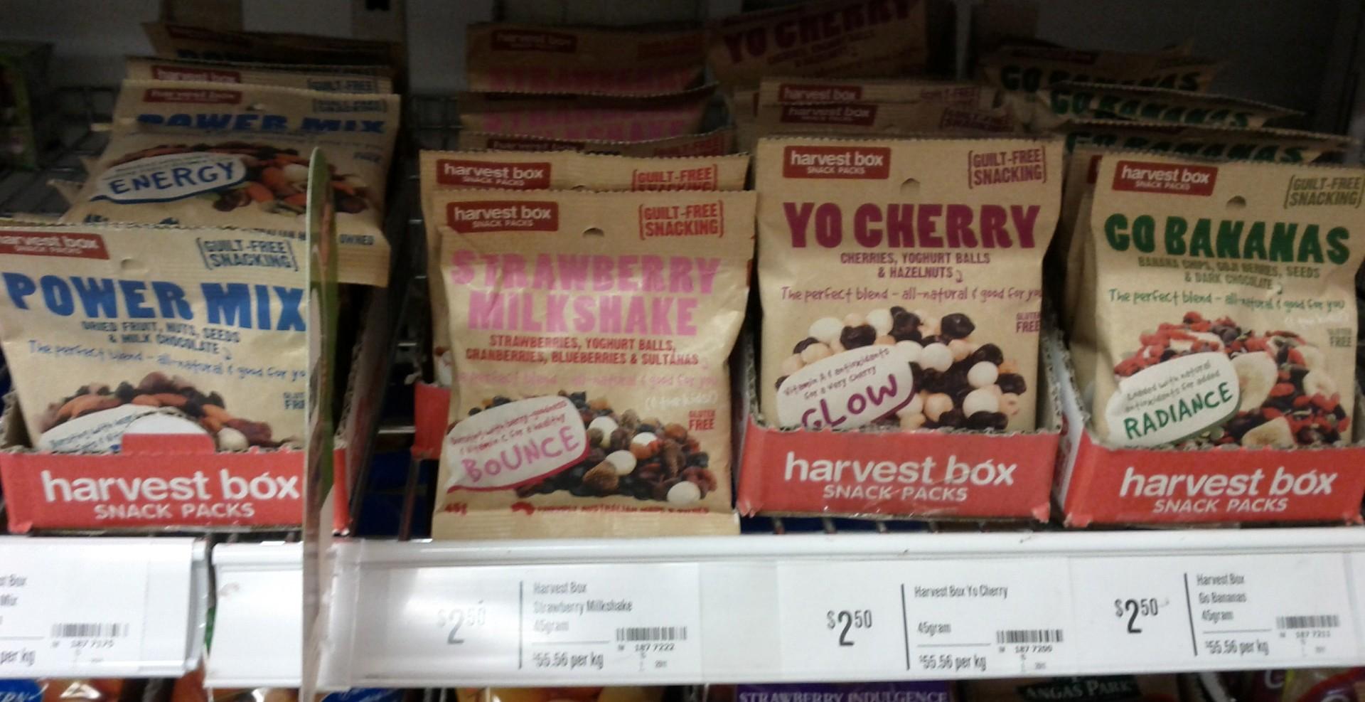 Harvest Box 45g Powder Mix, Strawberry, Cherry, Banana