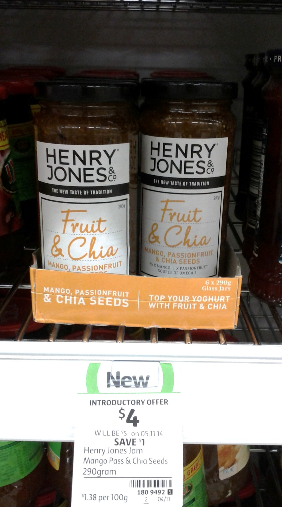 Henry Jones 290g Mango Passionfruit & Chia Seeds Jam