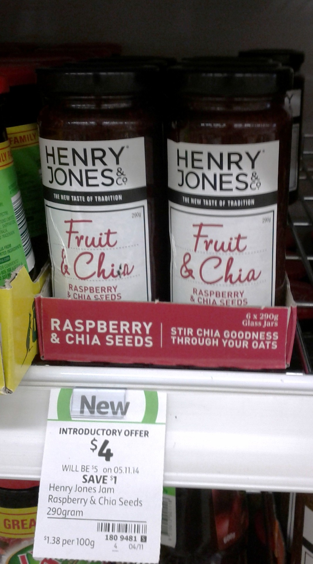 Henry Jones 290g Rasbperry & Chia Seeds