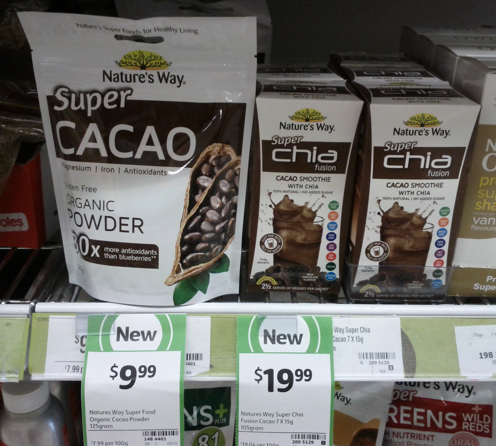 Nature's Way 125g Super Cacao, 105g Super Chia Fusion