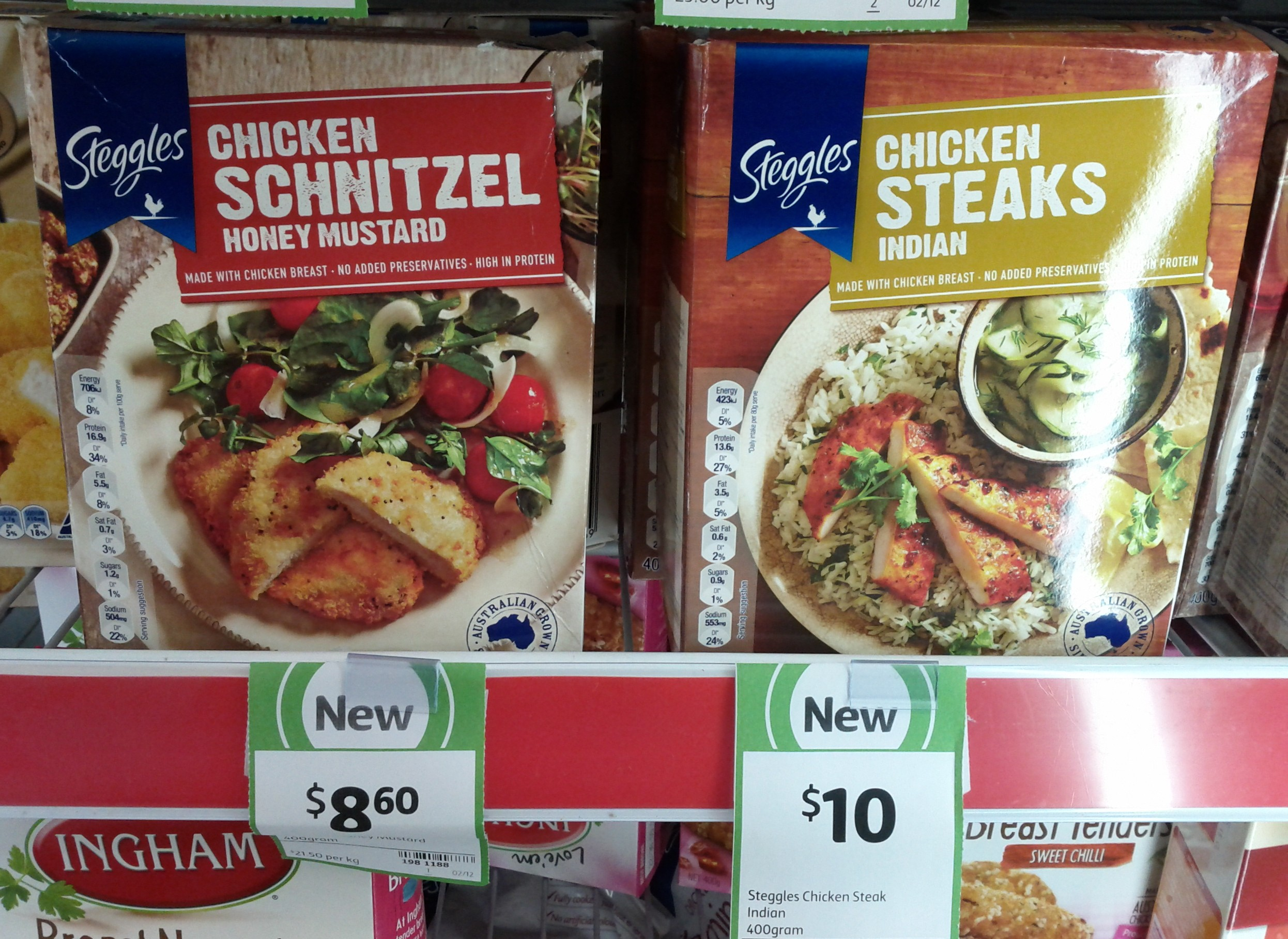 Steggles 400g Chicken Schnitzel Honey Mustard, Chicken Steaks Indian