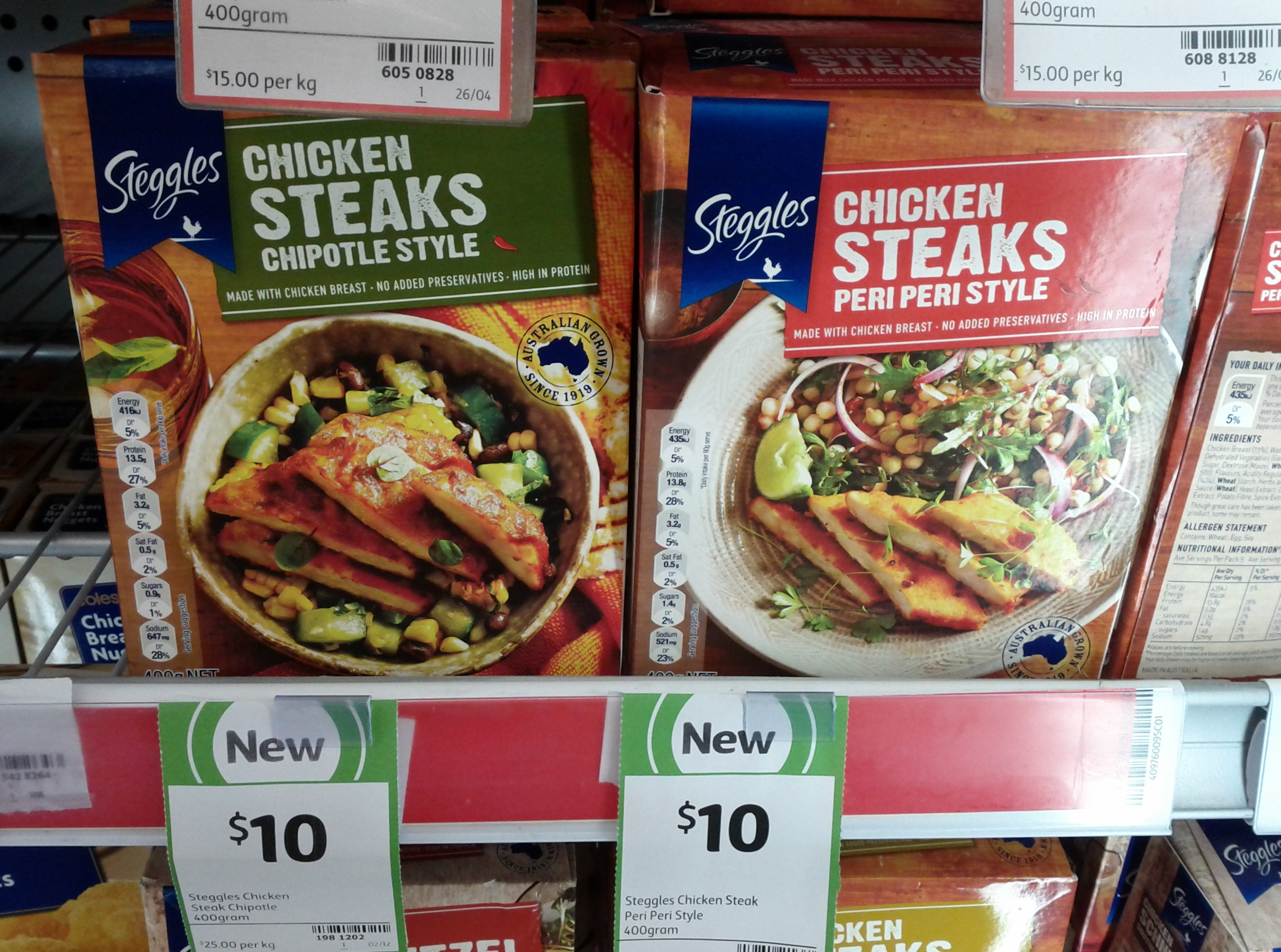 Steggles 400g Chicken Steaks Chipotle Style, Peri Peri Style