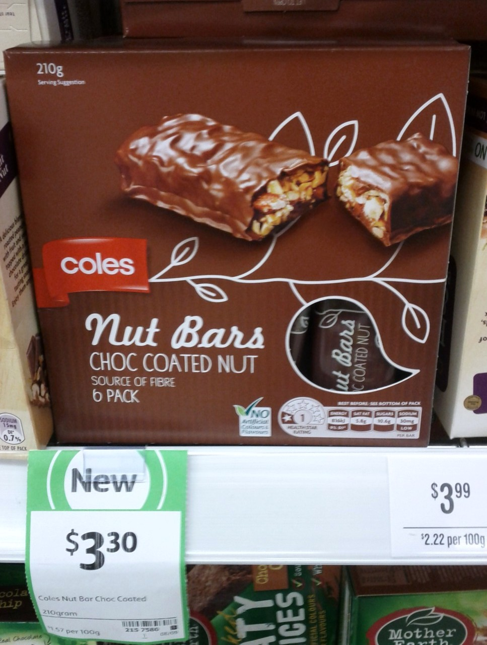 Coles Nut Bars 210g Choc Coated Nut