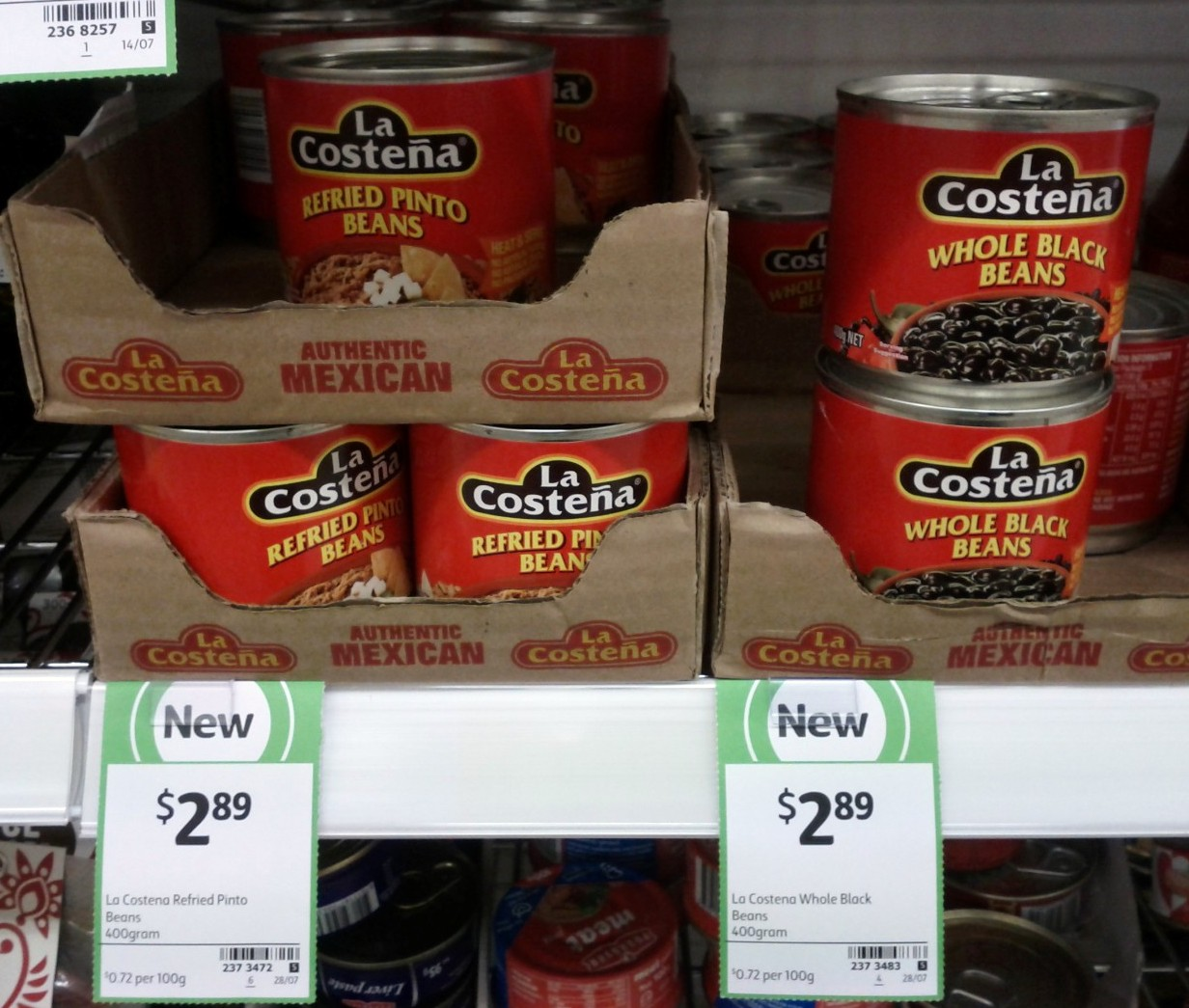 La Costena 400g Refired Pinto Beans, Whole Black Beans