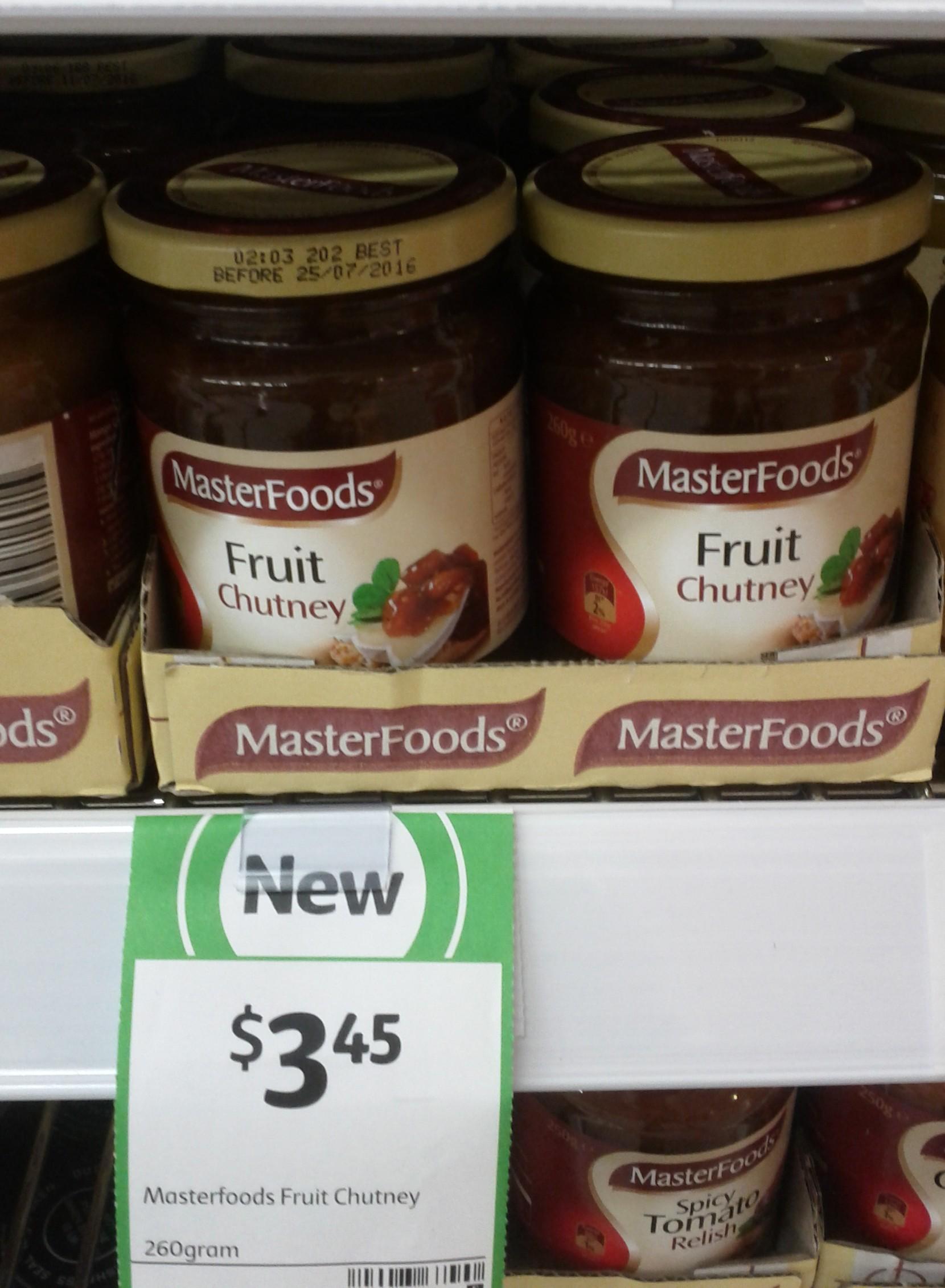 MasterFoods Chutney 260g Fruit