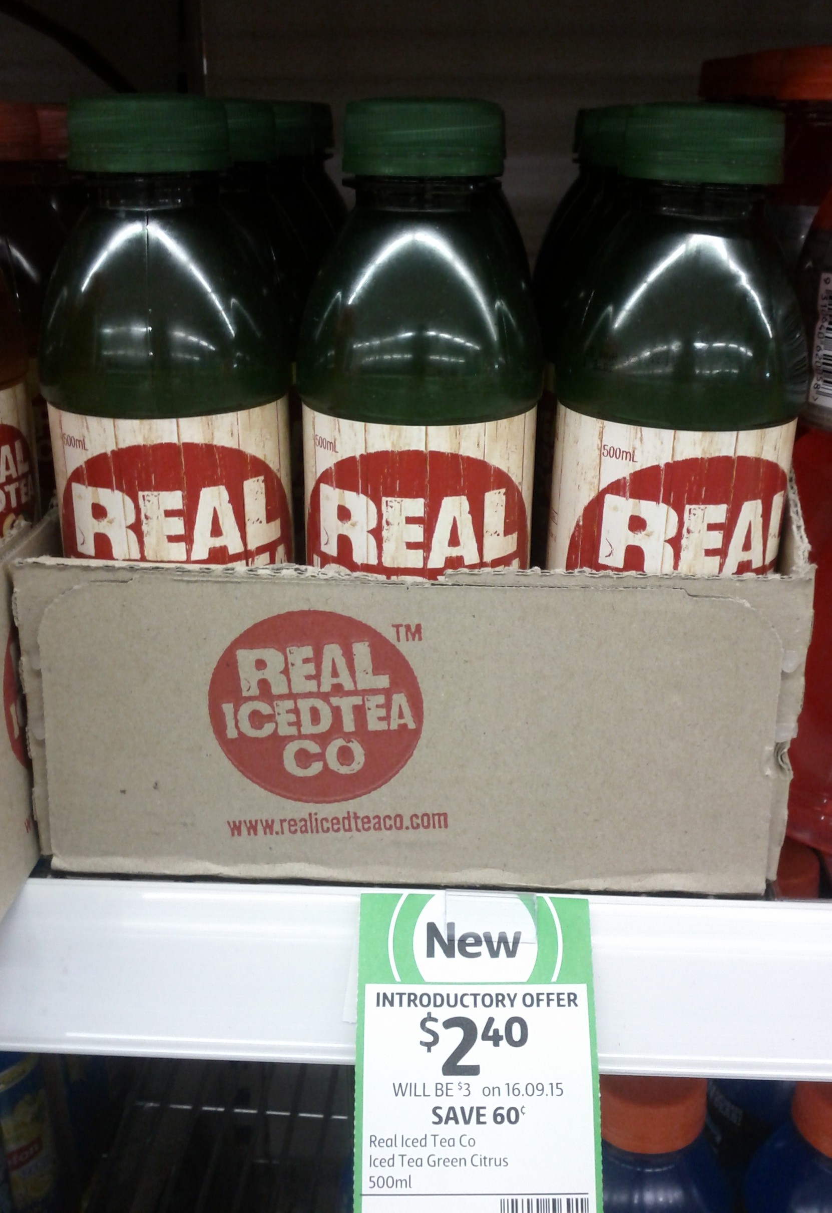 Real Iced Tea Co 500mL Green Citrus
