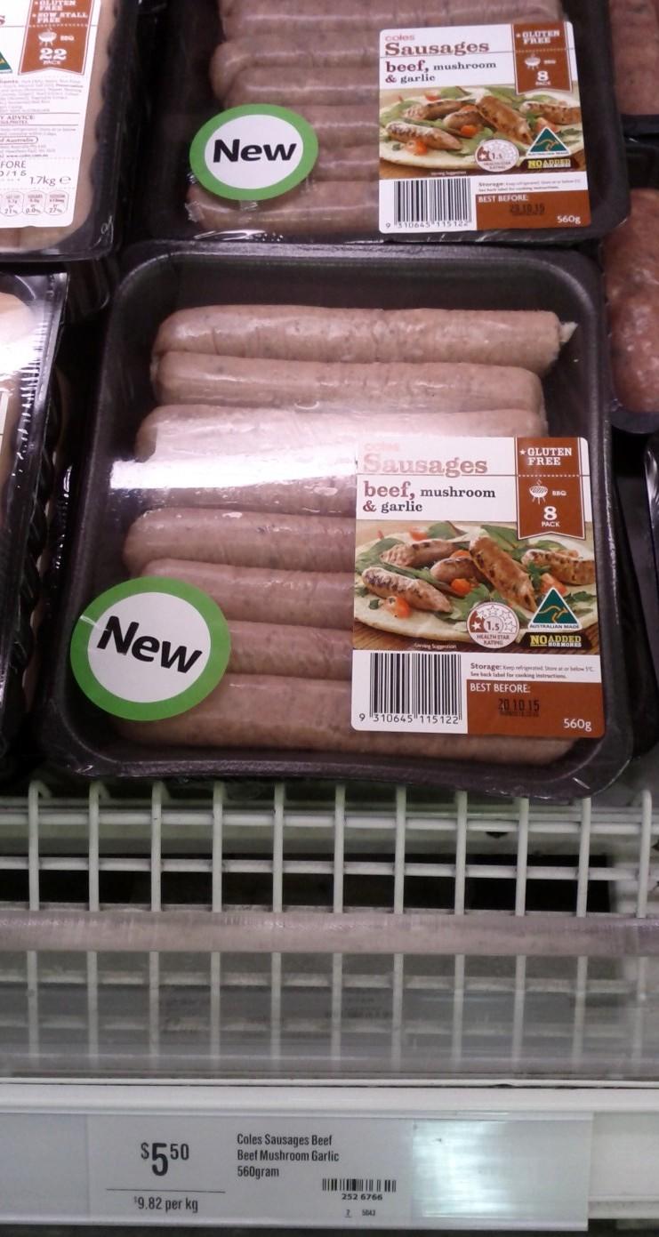 Coles 560g Beef, Mushroom & Garlic Sausages