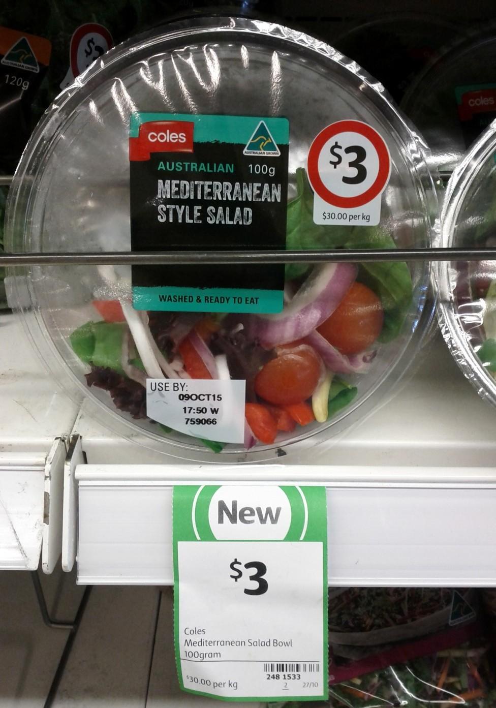 Coles Salad Bowl 100g Medierranean Style Salad