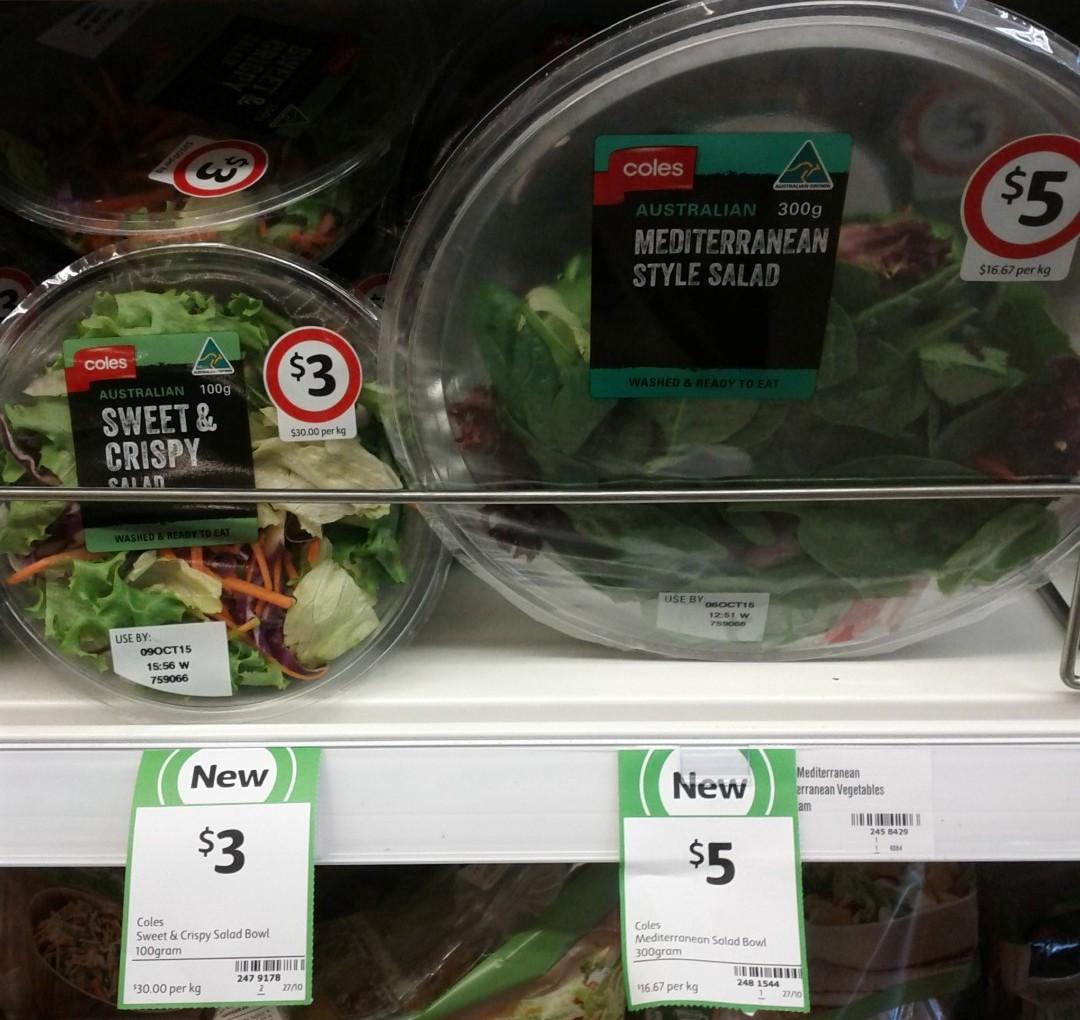 Coles Salad Bowl 100g Sweet & Crispy Salad, 300g Mediterranean Style Salad