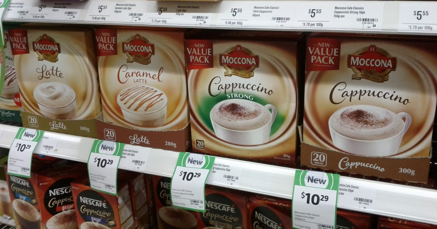 Moccona Value Pack 300g Latte, 280g Caramel Latte, 300g Cappuccino Stong, 300g Cappuccino