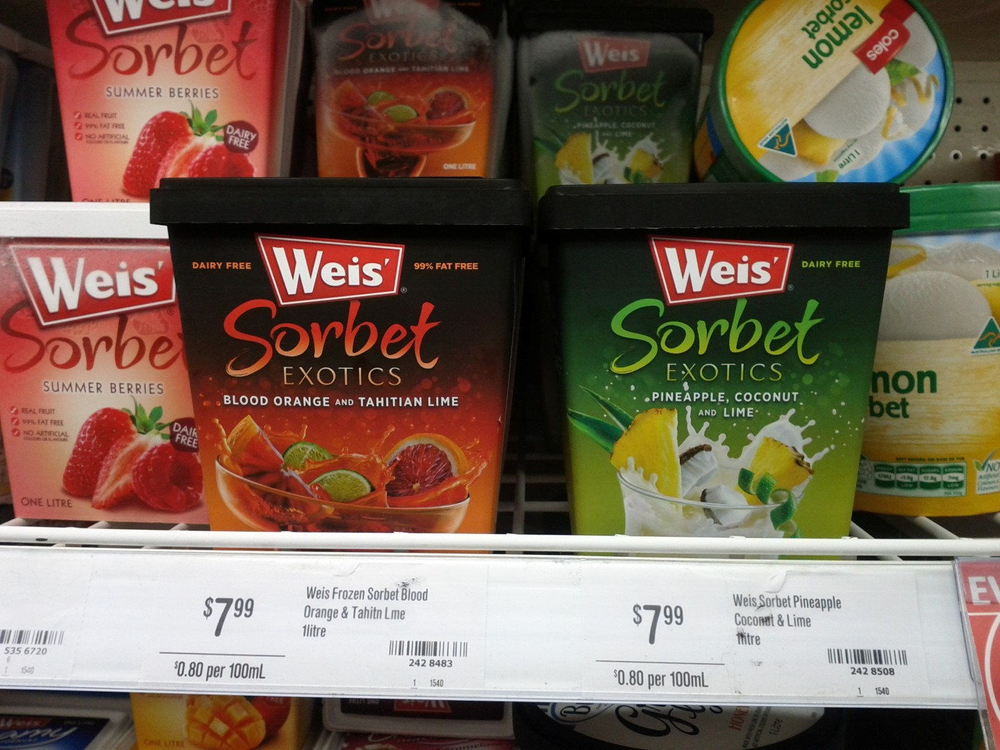 Weis Sorbet Exotics 1L Blood Orange & Tahitian Lime, Pineapple Coconut & Lime