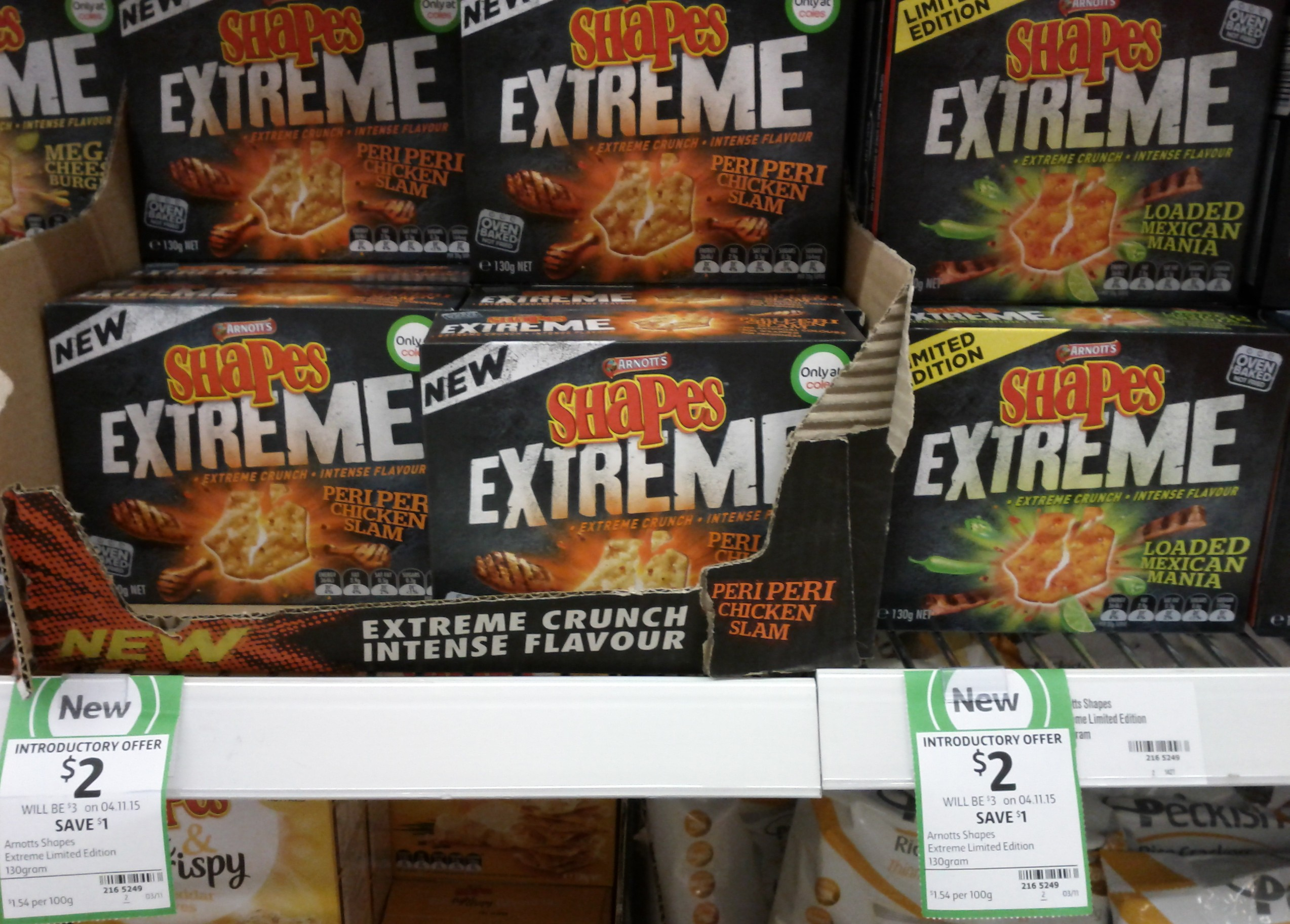 Arnotts Shapes 130g Extreme Peri Peri Chicken Slam, Loaded Mexican Mania
