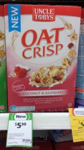 Uncle Tobys 465g Oat Crisp Coconut & Raspberry
