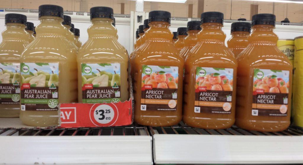 Coles 1L Australian Pear Juice, Apricot Nectar