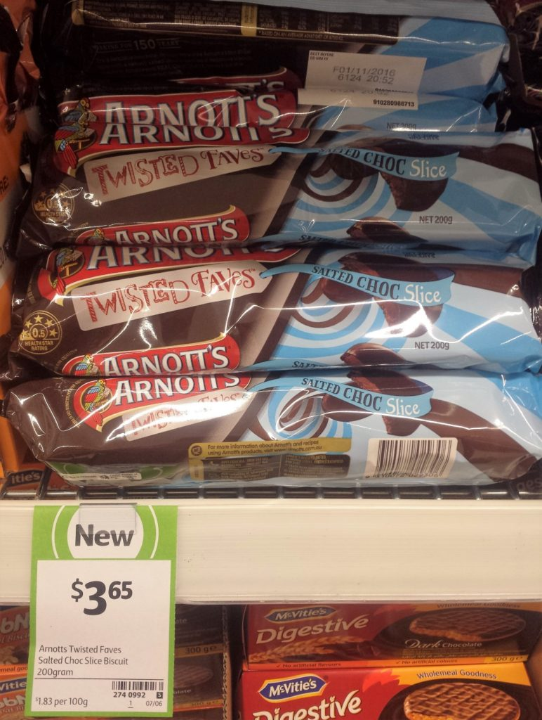 Arnott's 200g Twisted Faves Salted Choc Slice Biscuit
