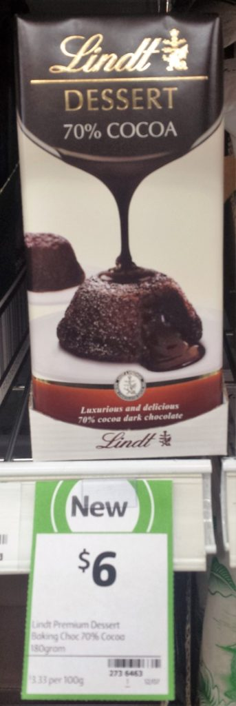 Lindt Dessert 180g 70% Cocoa Baking Chocolate