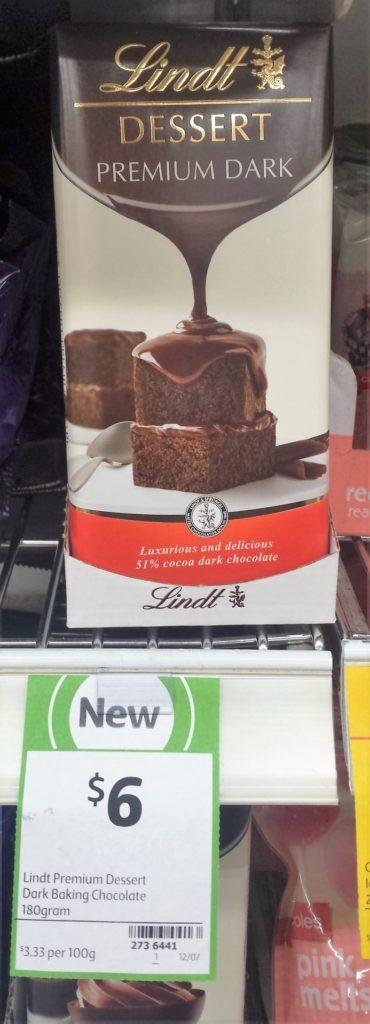 Lindt Dessert 180g Dark Baking Chocolate
