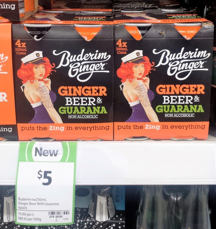 Buderim Ginger 4 X 250mL Ginger Beer Guarana