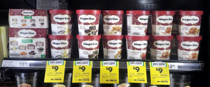 Haagen Dazs 400mL Classic Collection 457mL Vanilla Belgian Chocolate Macadamia Nut Brittle Strawberries Cream Salted Caramel