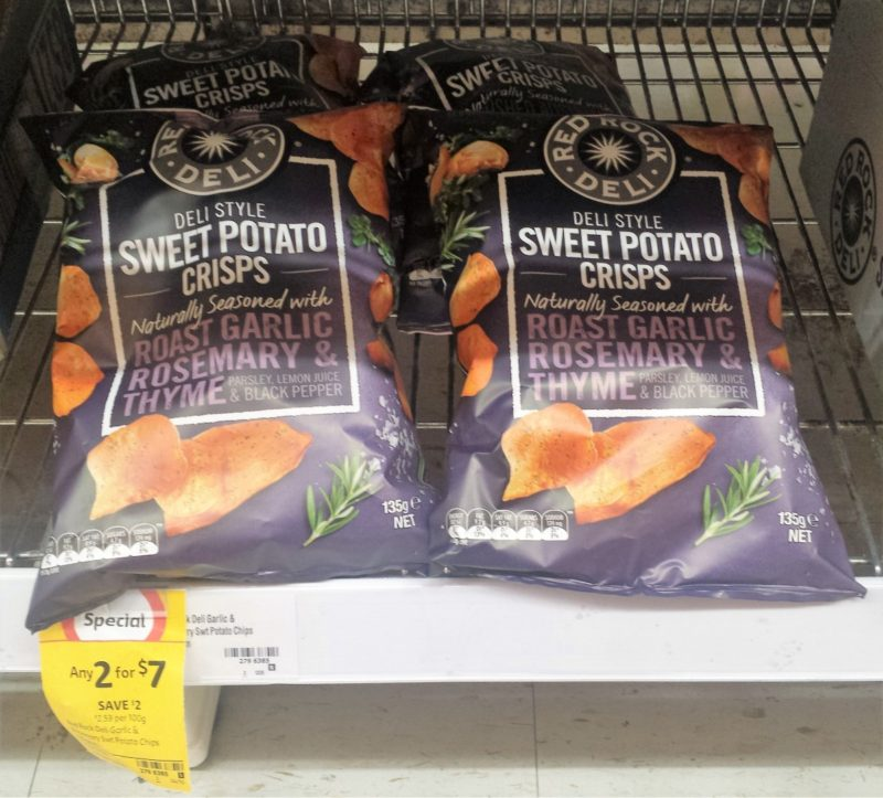 Red Rock Deli 135g Sweet Potato Crisps Roasted Garlic Rosemary Thyme