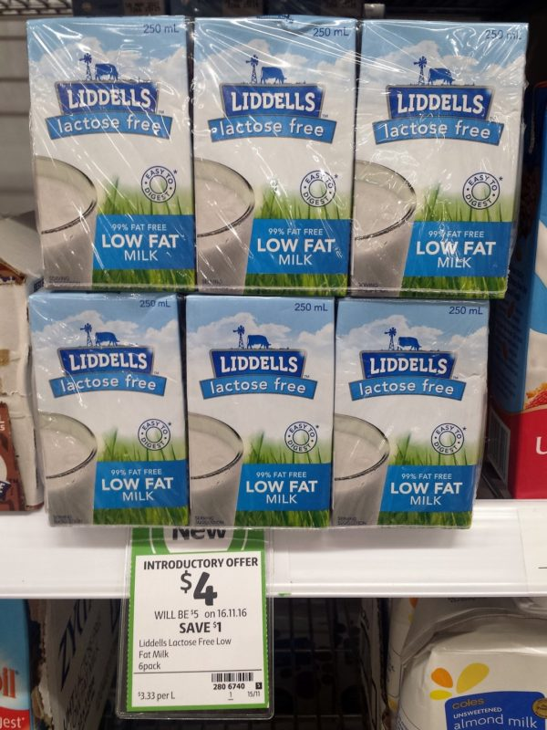 Liddells 6 X 250ml Lactose Free Low Fat Milk