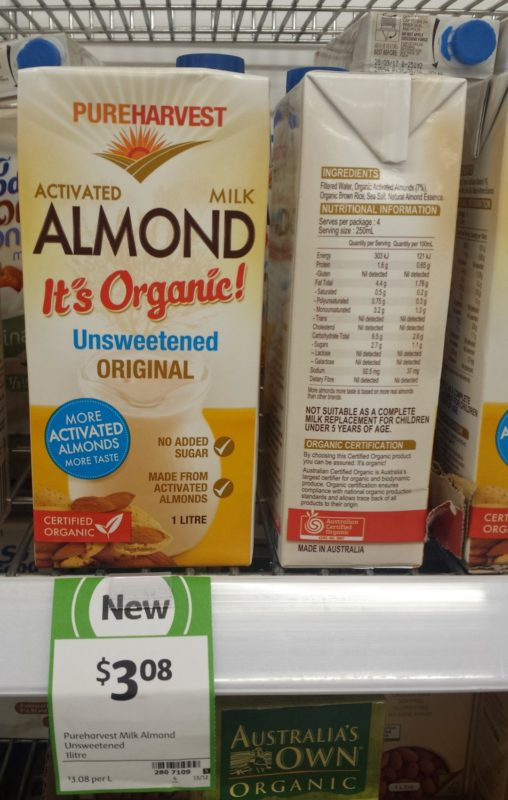Pureharvest 1l Activated Organic Almond Milk Unsweetened Original