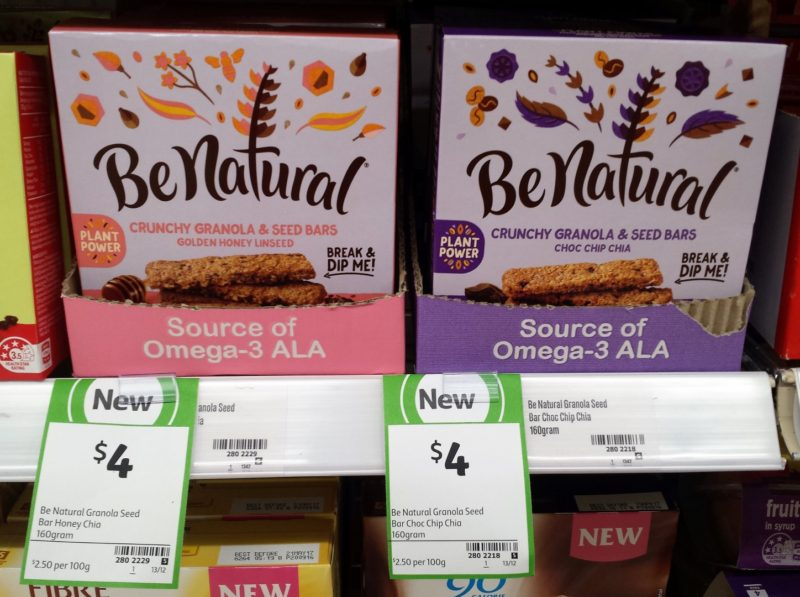Be Natural 160g Crunchy Granola & Seed Bars Golden Honey Linseed, Choc Chip Chia