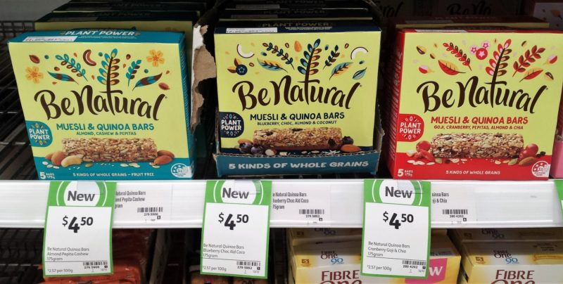 Be Natural 175g Muesli & Quinoa Bars Almond, Cashew & Pepita, 175g Blueberry, Choc, Almond & Coconut, 175g Goji, Cranberry, Pepitas, Almond & Chia