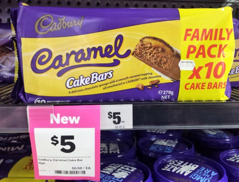 Cadbury 270g Caramel Cake Bars