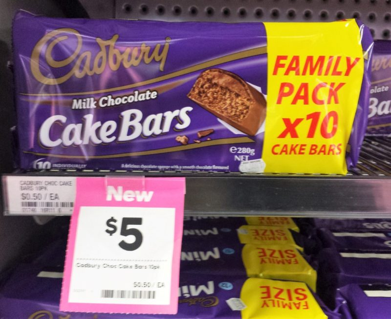 Cadbury 280g Milk Chocolate Cake Bars