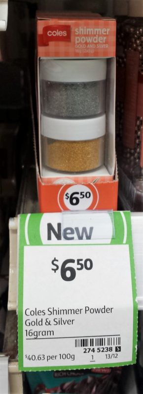 Coles 16g Gold & Silver Shimmer Powder