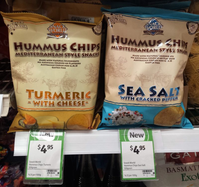 Snack World 120g Hummus Chips Turmeric With Cheese, Sea Salt With Cracked Pepper