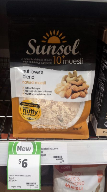 Sunsol 500g Muesli Nut Lover's Blend