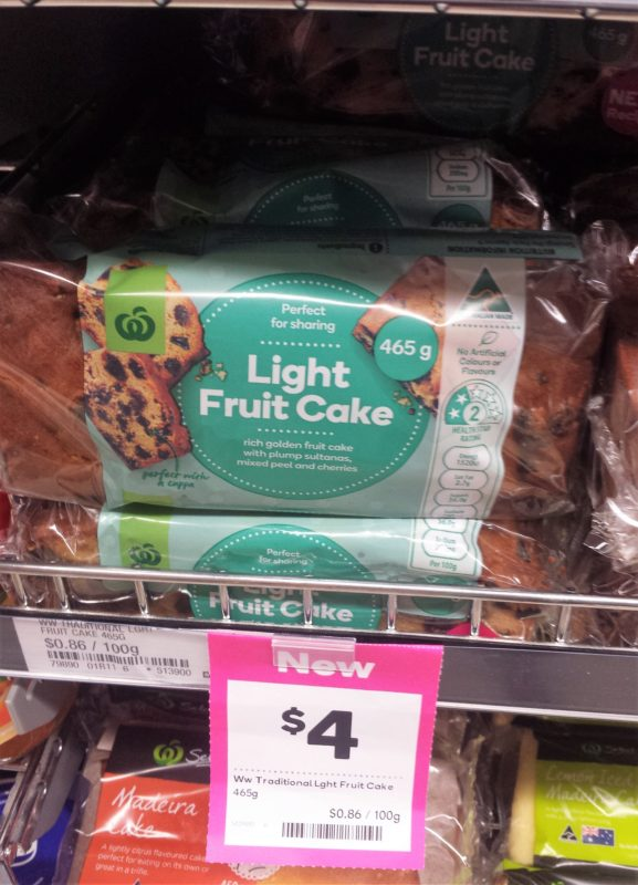 Woolworths 465g Light Fruit Cake