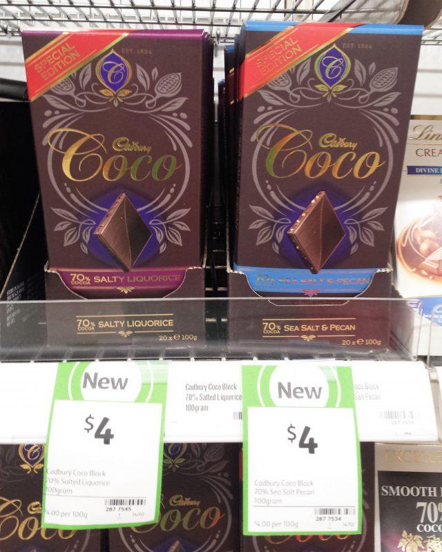 Cadbury Coco 100g 70% Salty Liquorice, 70% Sea Salt Pecan