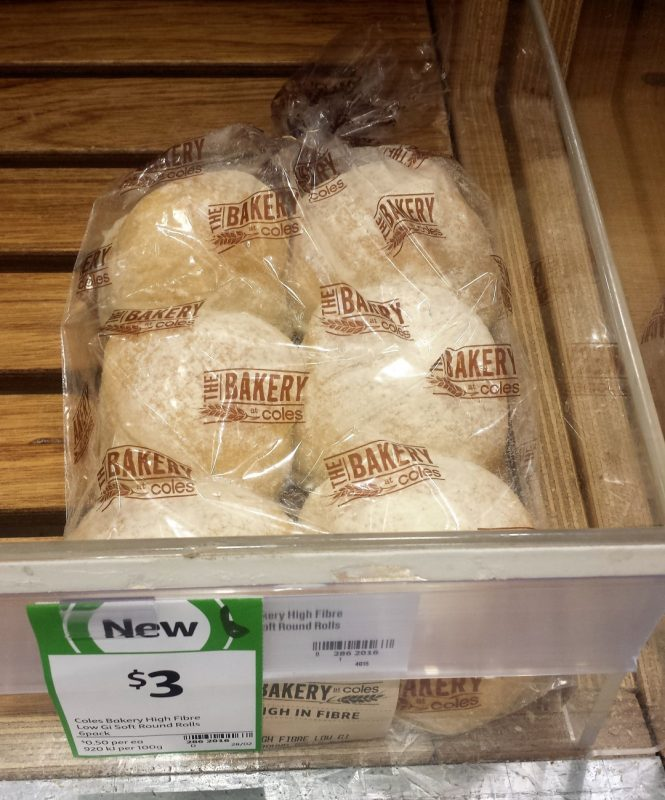 Coles Bakery 6pk High Fibre Low GI Soft Round Rolls