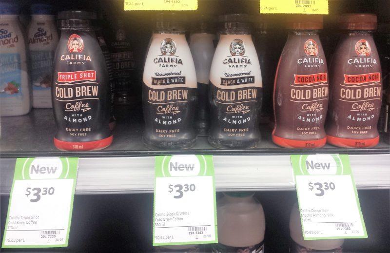 Califia Farms 310mL Cold Brew Coffee Almond Milk Triple Shot, Black & White, Cocoa Noir