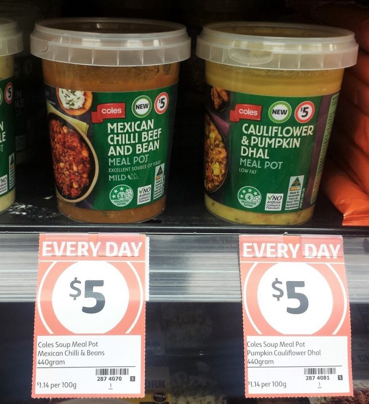 Coles Meal Pot 440g Mexican Chilli Beef And Bean, Cauliflower & Pumpkin Dhal