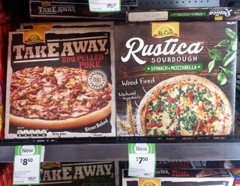 McCain 530g Frozen Pizza Take Away BBQ Pulled Pork, Rustica 365g Spinach & Mozzarella