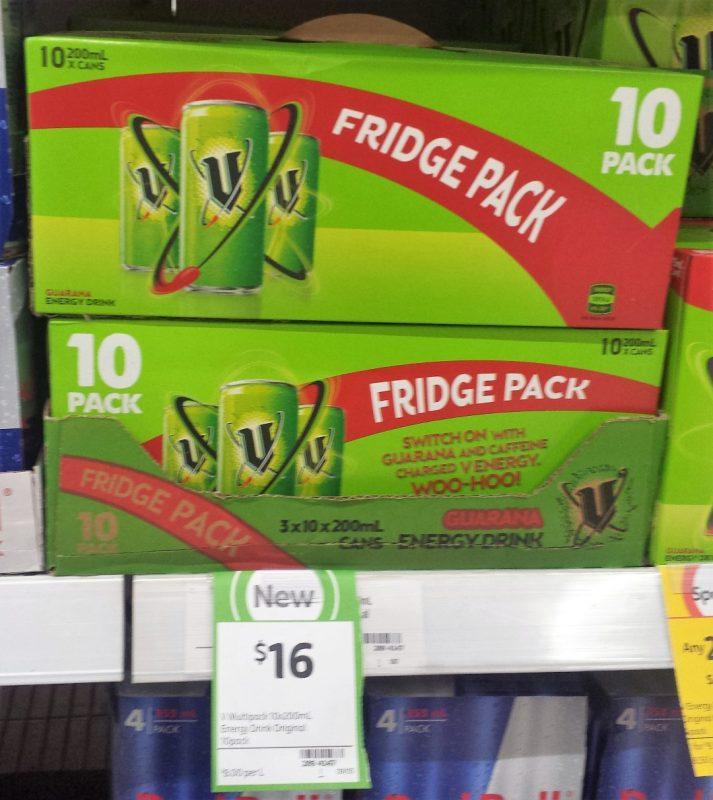 V 10 X 200mL Energy Drink Fridge Pack
